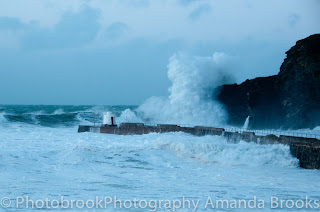 Waves batter the north cornwall coast - Portreath