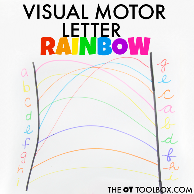 Use rainbow colors to work on the skills needed for handwriting with a visual motor letter rainbow activity.