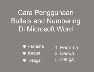 penggunaan bullets and numbering