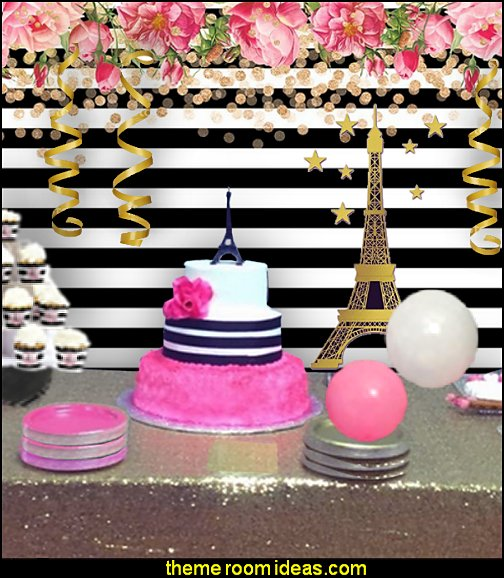 parish pink gold black party  Paris party decorations - Paris themed party supplies - Party in Paris Birthday Party Decorations  -  Pink Paris Party -  Paris party balloons - Eiffel Tower Favor Boxes -  French-themed celebration  - Pink Poodle Paris Theme Birthday Party