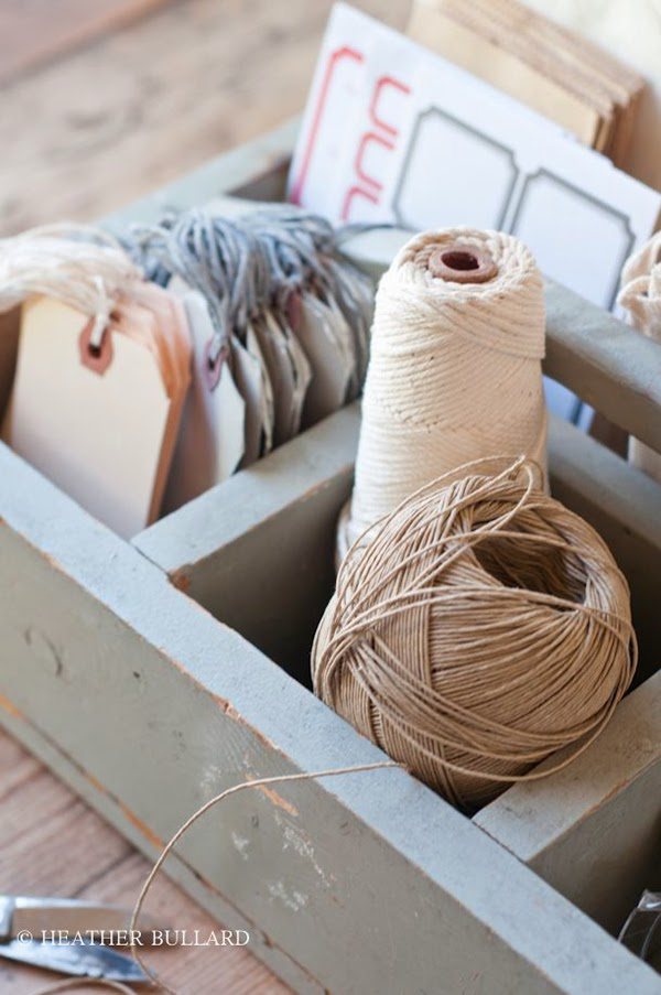 Heather Bullard twine storage Fabric and ribbon storage that would be suitable for a craft room or sewing room. 24 Amazing Storage Ideas That You Will Freakin' Love!