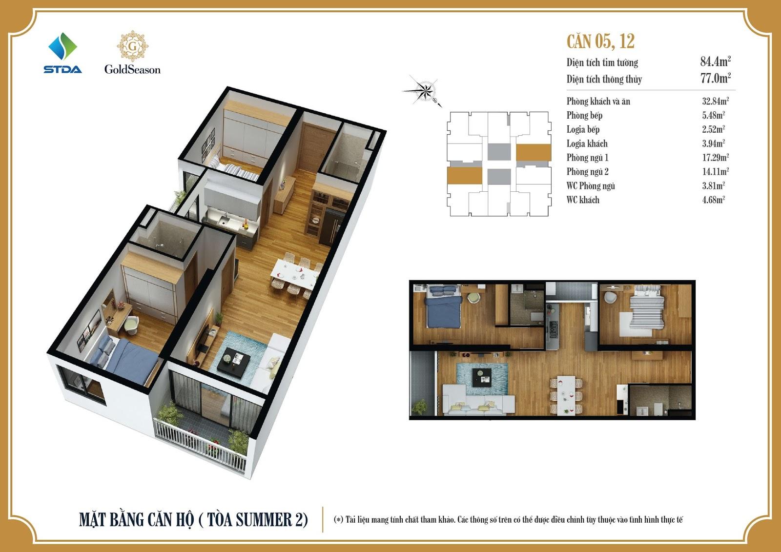 Thiết kế chi tiết mặt bằng căn hộ số 05 và 12 diện tích 84,4m2 - GoldSeason