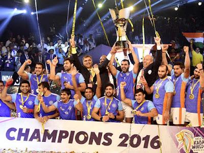 India won Kabaddi world cup 2016 against Iran with 38-29