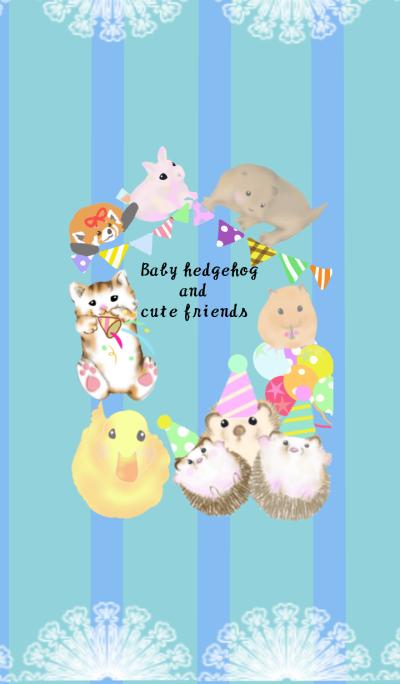 Baby hedgehog and cute friend