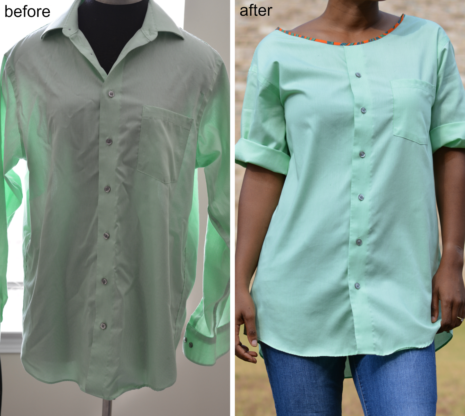 refashion a men's shirt into a tunic top