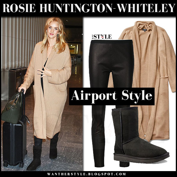 Rosie Huntington-Whiteley in camel cardigan, leather trousers the perfext and black boots UGG what she wore off duty style
