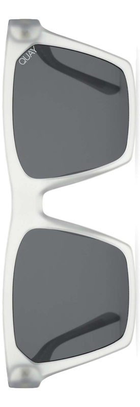 Quay x Missguided Alright 55mm Square Sunglasses in White/Smoke