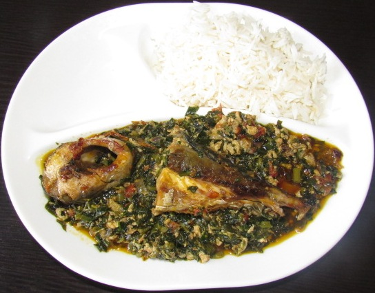 Ugu leaves stew served with fish