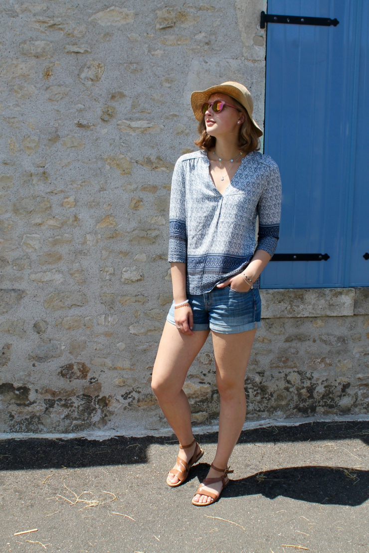 blue printed shirt and denim shorts for a cute summer outfit