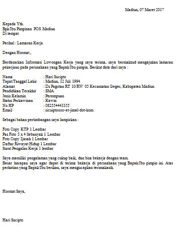 Contoh Surat Lamaran kepada POS Indonesia Lulusan SMA yang Baik dan Benar Terbaru 2017
