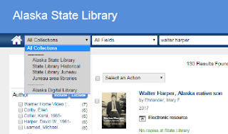 The collections dropdown menu on the Alaska State Library's catalog page.