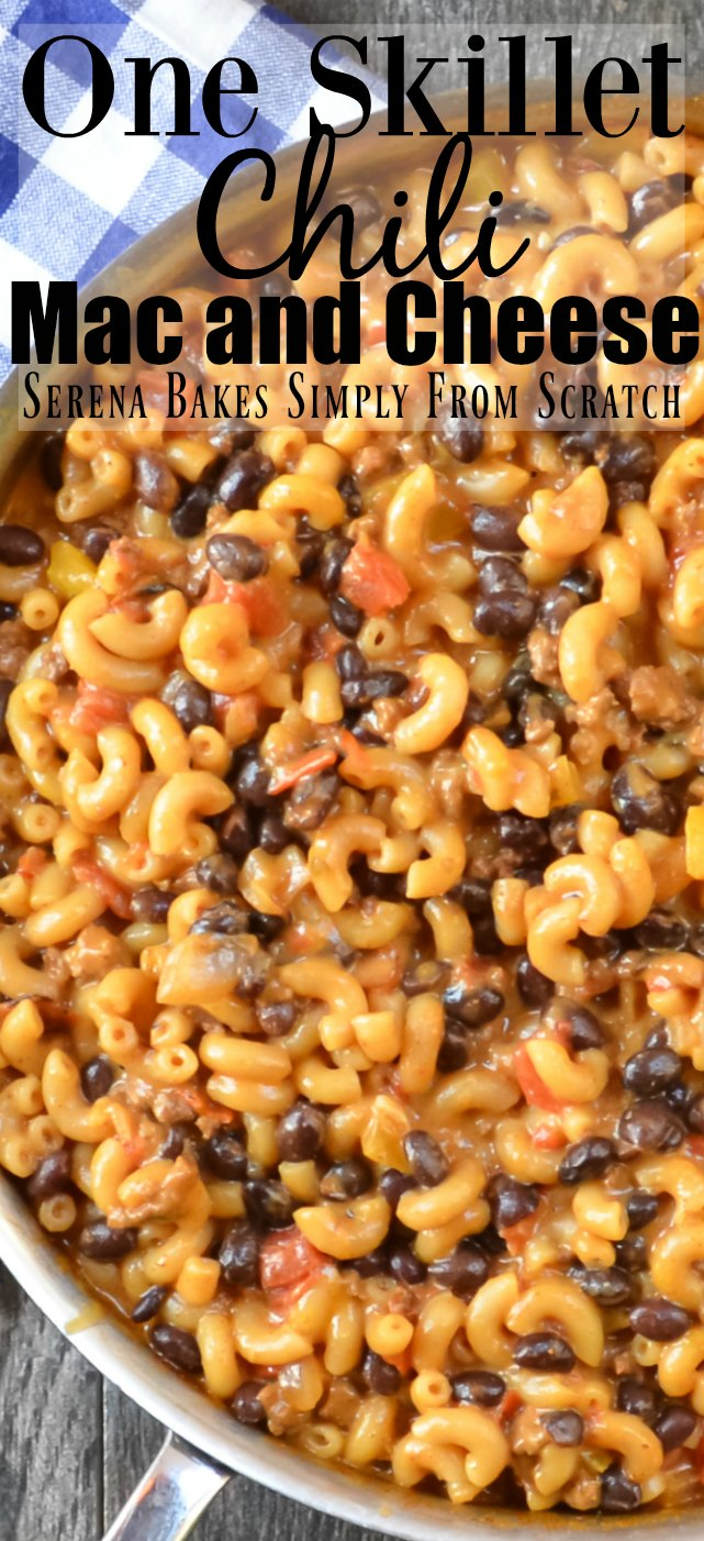 Easy to make One Skillet Chili Mac and Cheese.
