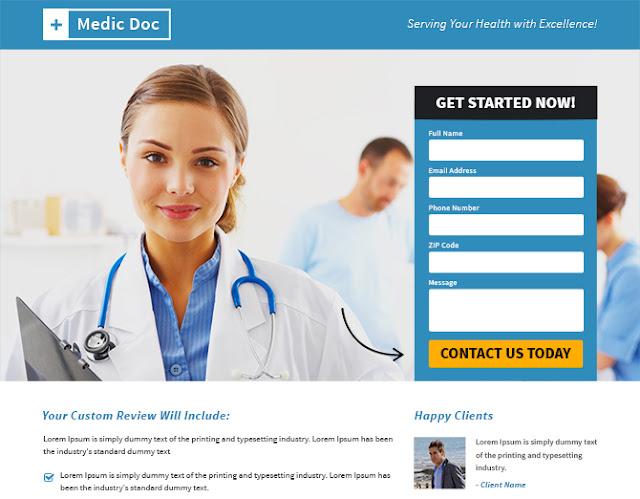 Buy Landing Pages Design Medical Doctor Services Responsive Landing - Buy landing page template