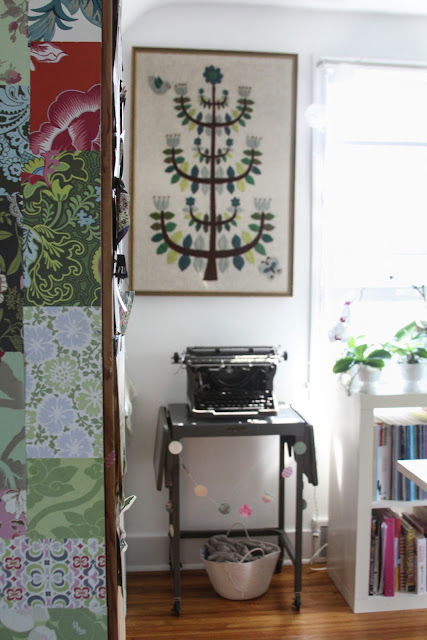 studios, workspaces, vintage decor, vintage typewriter, vintage embroidery, Anne Butera, My Giant Strawberry