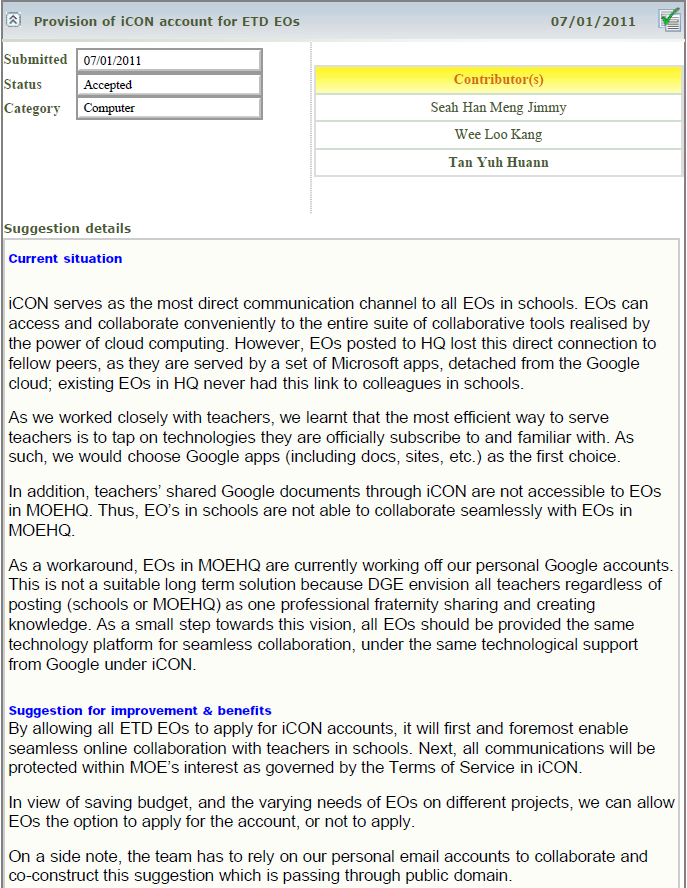 Provision Of Icon Account For Etd Eos Esss Suggestion That Allows Moehq To Work With Schools Using Same Moe Edu Sg Accounts As One Fraternity