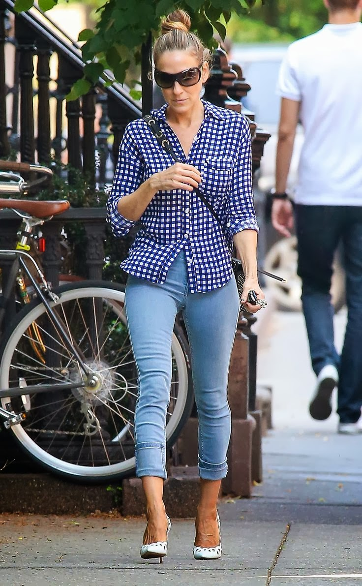 Women's Fashion blue gingham + faded denim + black leather