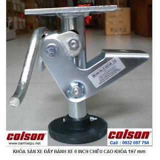 Khóa chân xe đẩy hàng Colson Mỹ chiều cao khi khóa 197mm | 6045x6 www.banhxepu.net