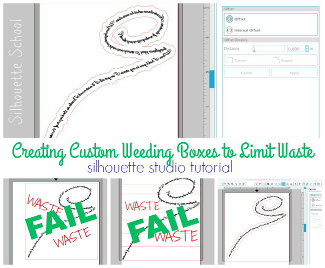 Silhouette tutorial, custom weeding boxes, limit waste, Silhouette Cameo
