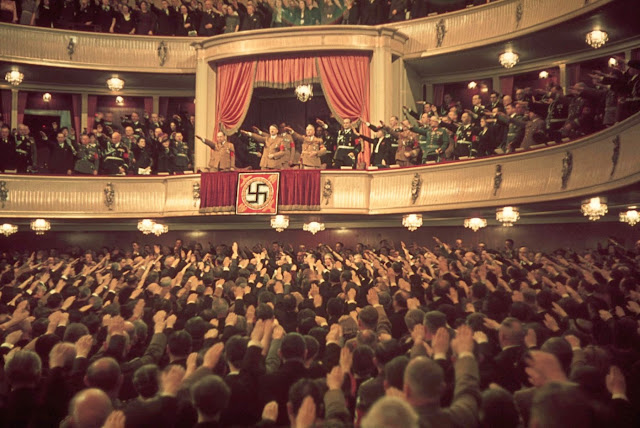 Adolf Hitler and Joseph Goebbels (in box) at Charlottenburg Theatre, Berlin, 1939.