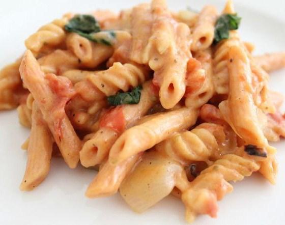 One Pot Creamy Tomato Basil Lentil Pasta (Dairy Free, Gluten Free, Vegan)