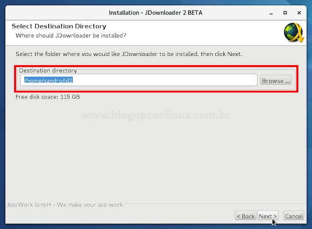 Selecione o local de instalação do JDownloader 2 (recomendo que deixe a pasta padrão)