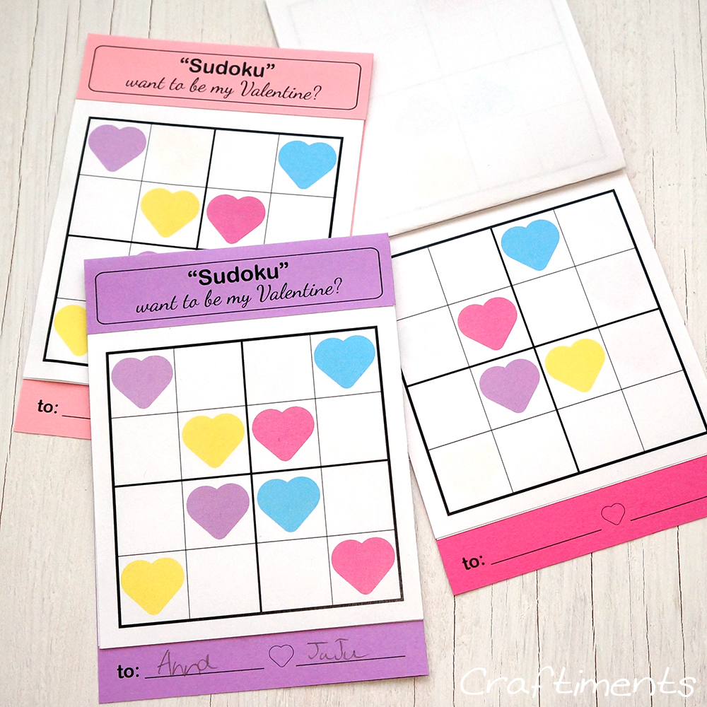 Free printable Sudoku puzzle valentines for children - Craftiments