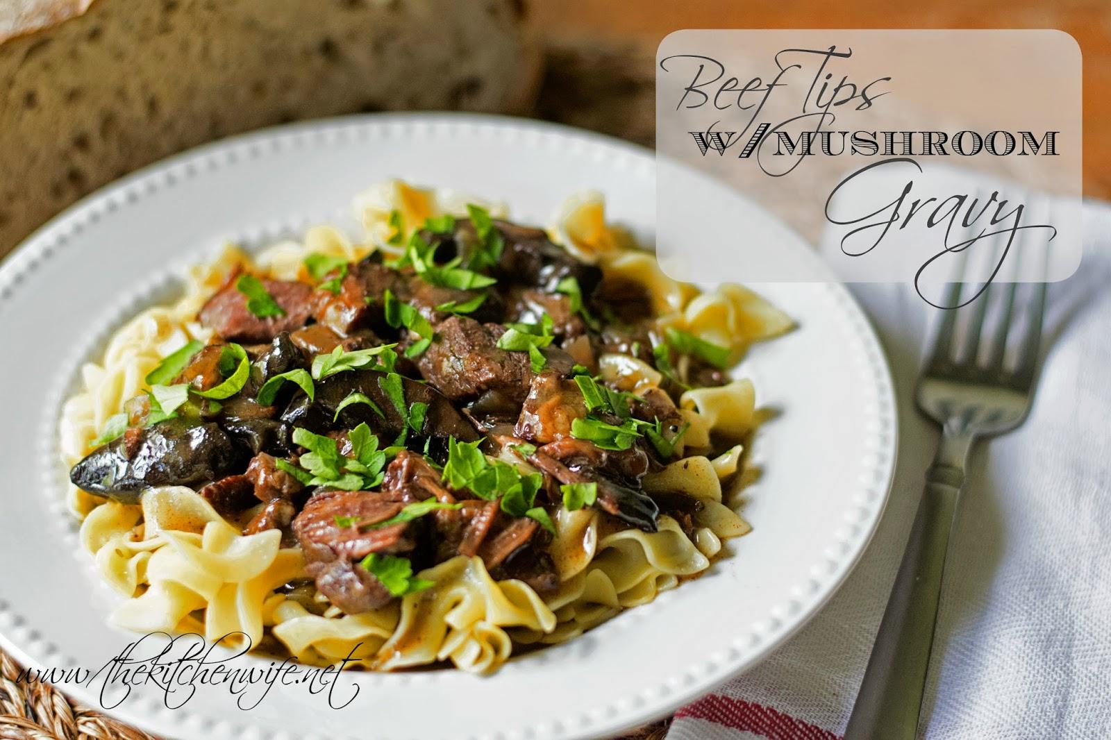 Slow Cooker Beef Tips w/ Mushroom Gravy