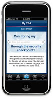 Smart phone with My TSA app screenshot.