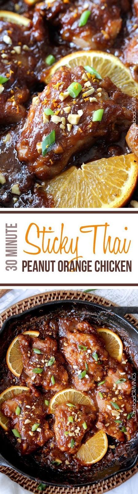 STICKY THAI PEANUT ORANGE CHICKEN (30 MINUTES)