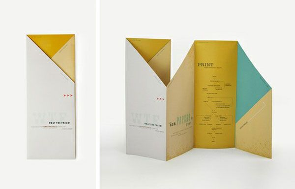 Desain brosur unik dengan beberapa lipatan yang memiliki bentuk variatif