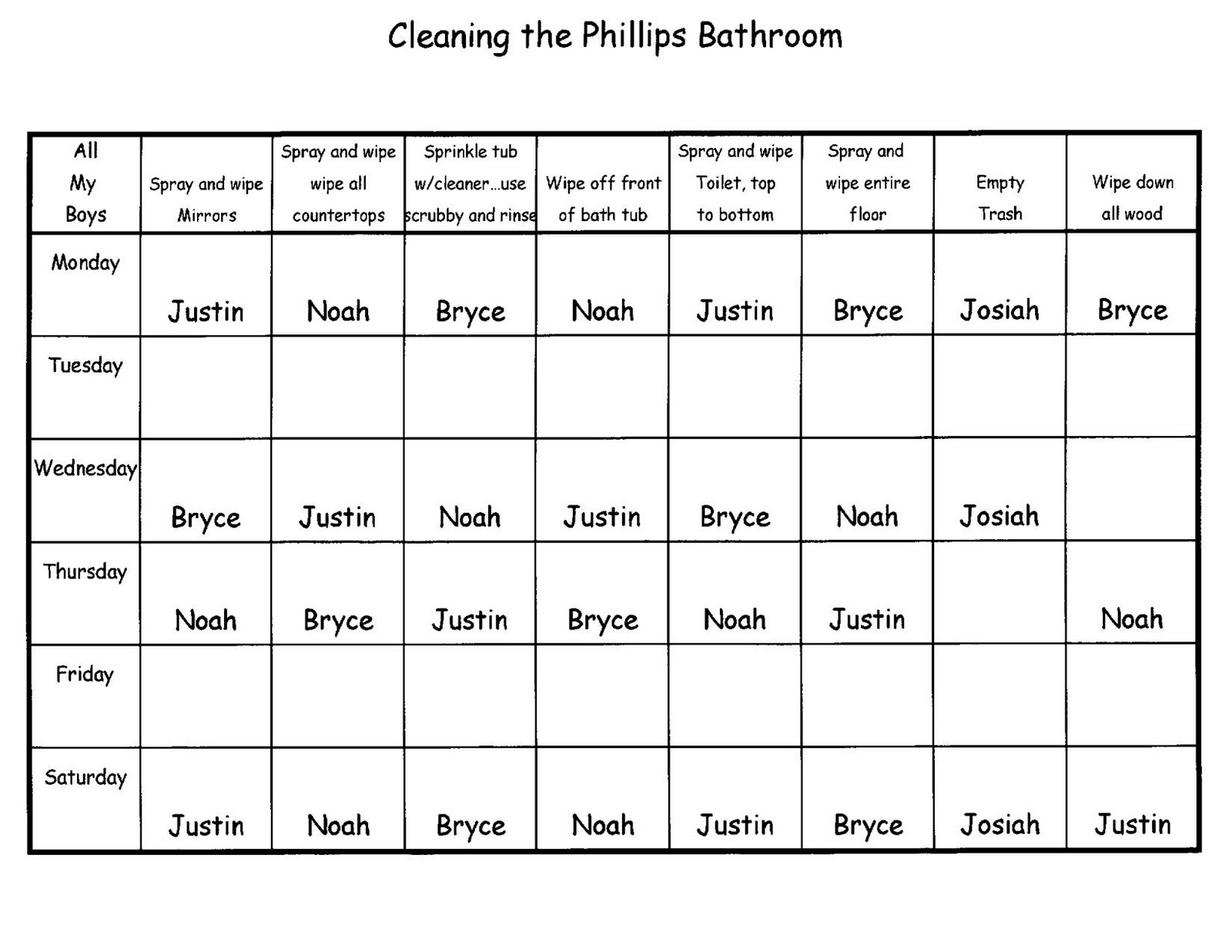 Bathroom Cleaning Schedule. Perfect Cleaning Restroom Cleaning Chart And Bathroom  Cleaning Schedule