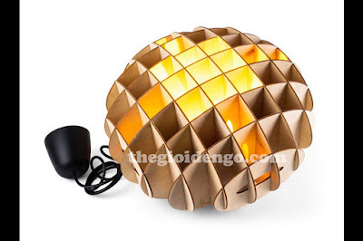Thế Giới Đèn Gỗ - Đèn gỗ trang trí tổ ong kiểu để bàn