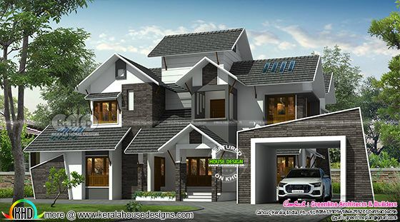 ultra modern sloped roof grey roof home design