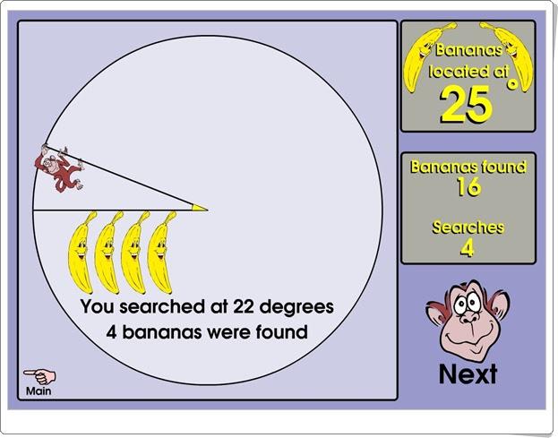 """""""Banana hunt"""" (Juego de estimación de ángulos)"""