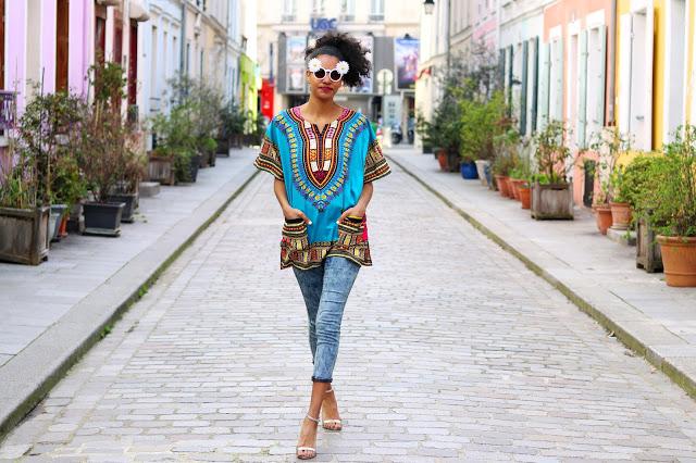 Dressing des 4 Saisons Chanteuse Armelle D'Oliveira Blog Caetera Moda Dashiki bleu turquoise