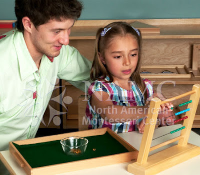 NAMC montessori teacher helps girl with bead frame new montessori students new school year