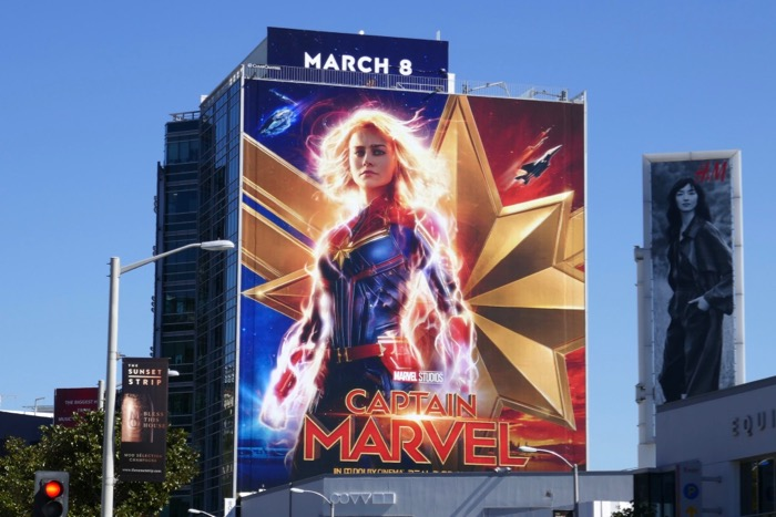 Giant Captain Marvel movie billboard
