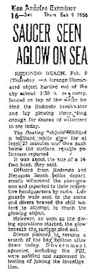 Saucer Lands on Ocean - Los Angeles Examiner 2-9-1956