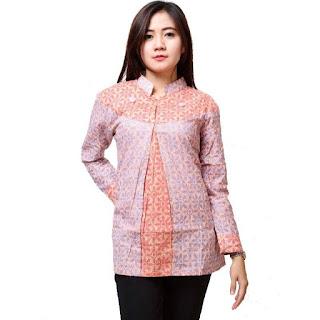 Contoh Batik Kerja Wanita Lengan Panjang