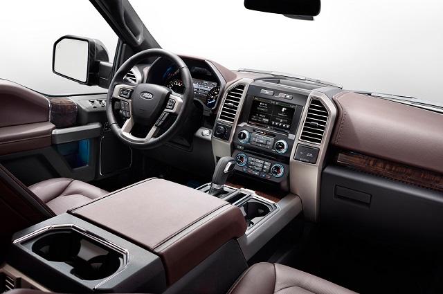 Interior view of 2017 Ford F-150 4X4 SuperCrew Platinum