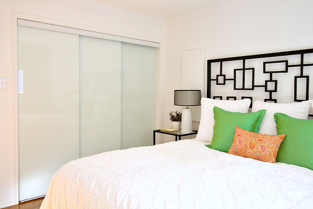 White glass sliding closet doors