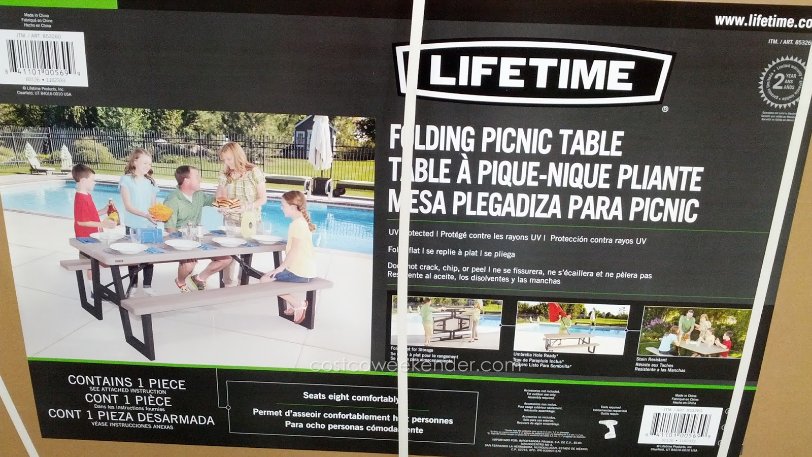 Lifetime Products 6 Foot W Frame Folding Picnic Table