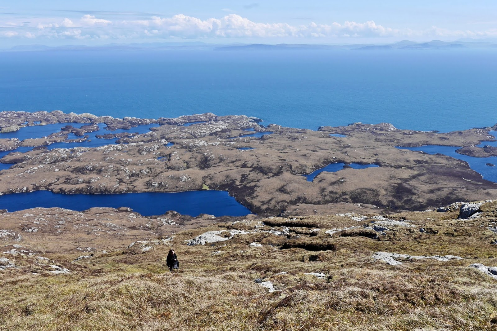 Climbing Eaval, Scotland,  , Almost Chic and Cal McTravels during their Scottish Island Hopping in the outer Hebrides