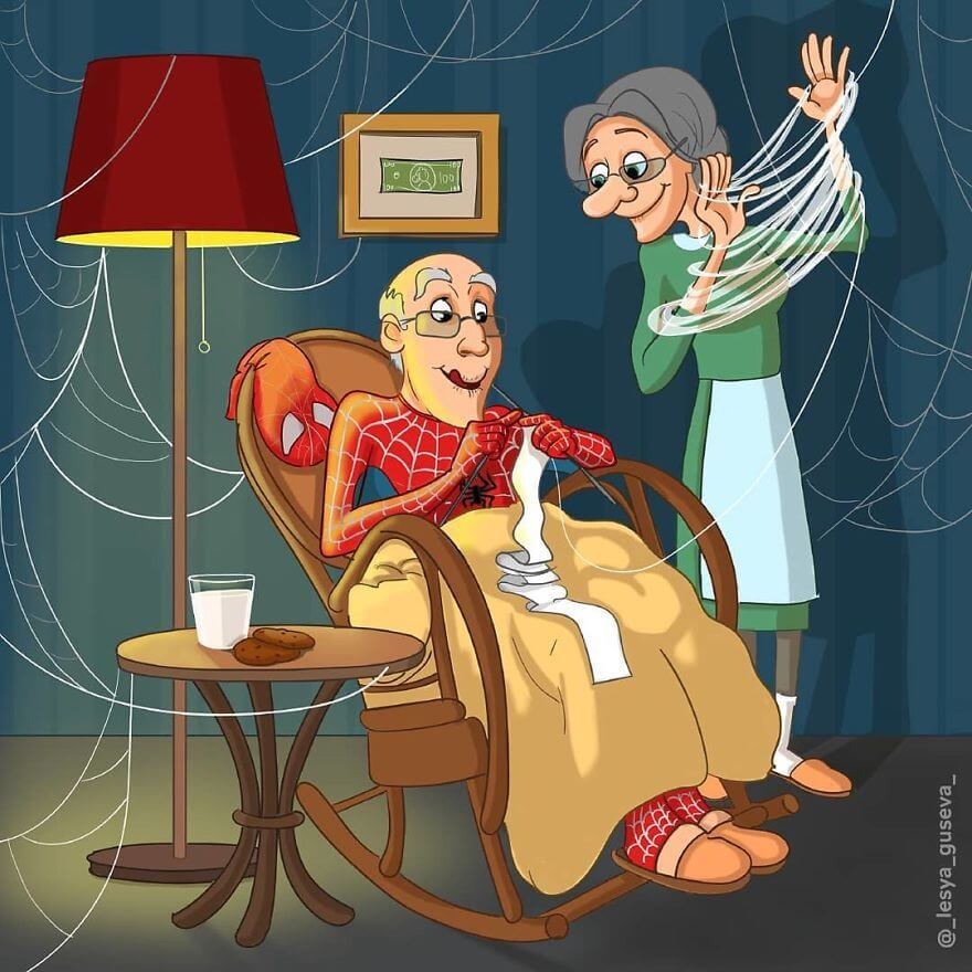 15 Beautiful Illustrations Of Popular Cartoons And Comic Characters In Old Age - Spider-Man