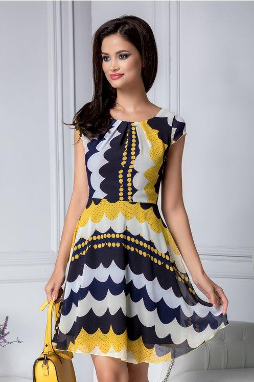 Rochie eleganta de vara vaporoasa cu imprimeu galben