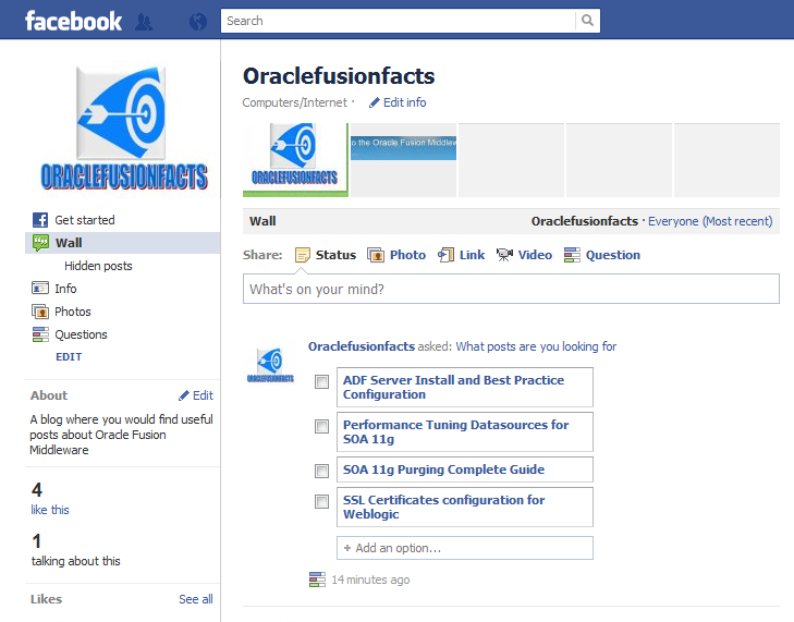 For The Oracle Fusion Middleware Admins    : Follow Us On Facebook