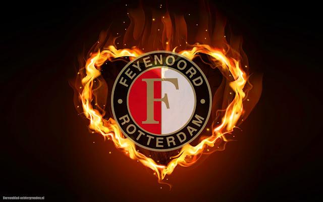 Feyenoord wallpaper met liefdes harte van vuur
