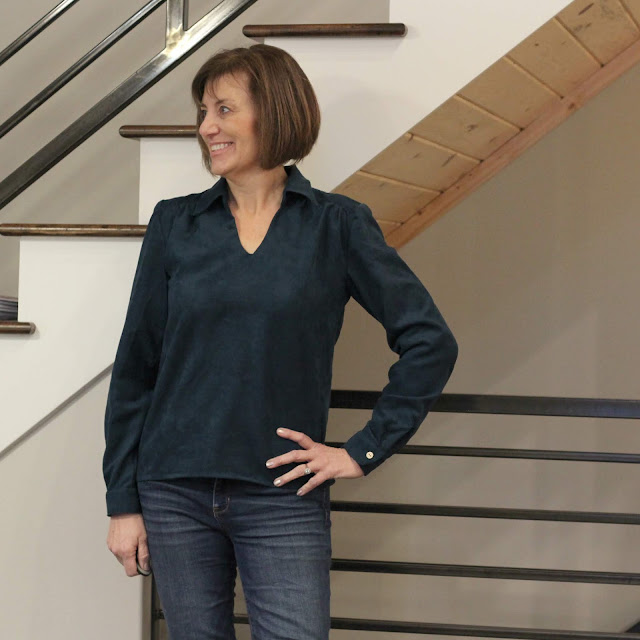 Butterick 5997 in Style Maker Fabrics' faux suede shirting