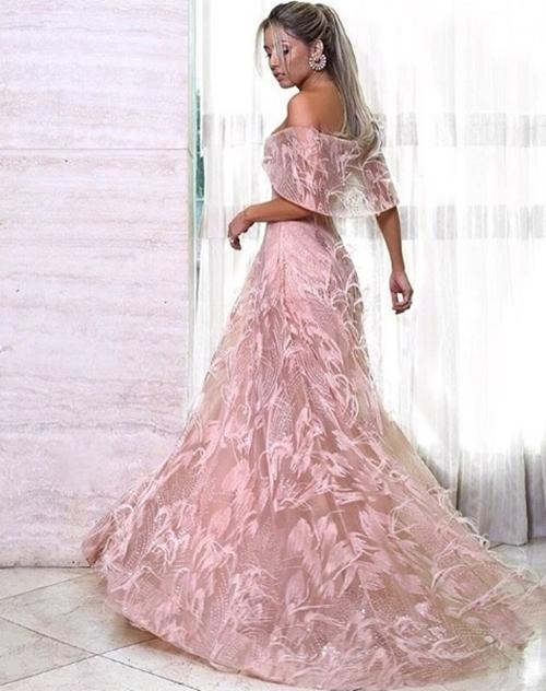 vestido de festa rose estilo princesa