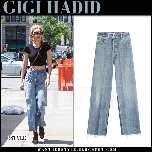 Gigi Hadid in black crop top and wide leg jeans re/done what she wore june 28 2017